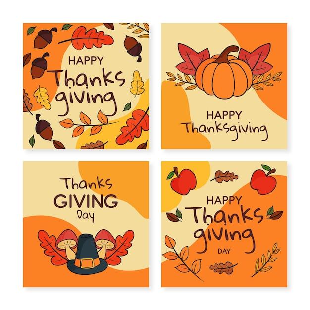 손으로 그린 thanksgivinb instagram 게시물 컬렉션 무료 벡터