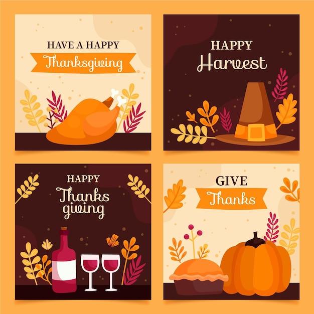 Raccolta di post instagram thanksgivinb disegnata a mano Vettore gratuito