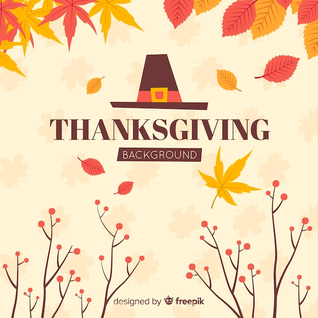 Hand drawn thanksgiving background with autumn elements Free Vector