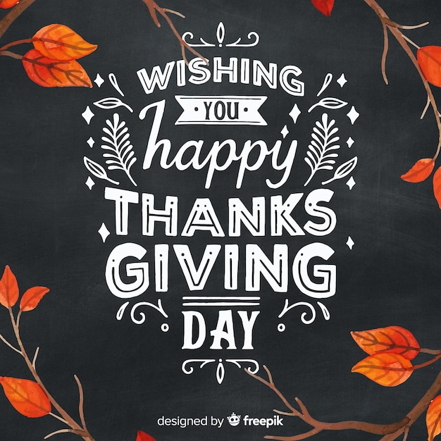 Hand drawn thanksgiving background with autumn lettering Free Vector