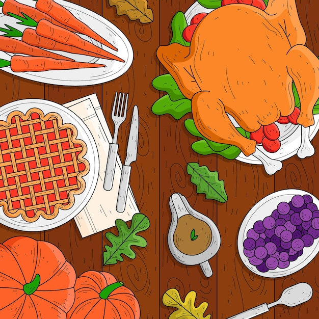 Ручной обращается фон благодарения с едой Бесплатные векторы