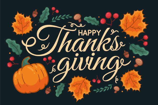 Hand drawn thanksgiving background with leaves and pumpkins Free Vector