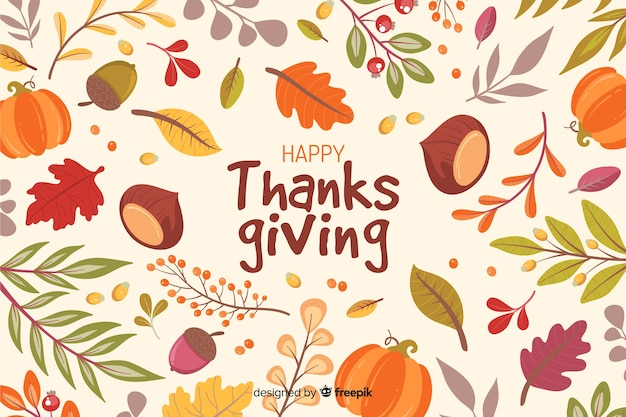 Hand drawn thanksgiving background with leaves Free Vector