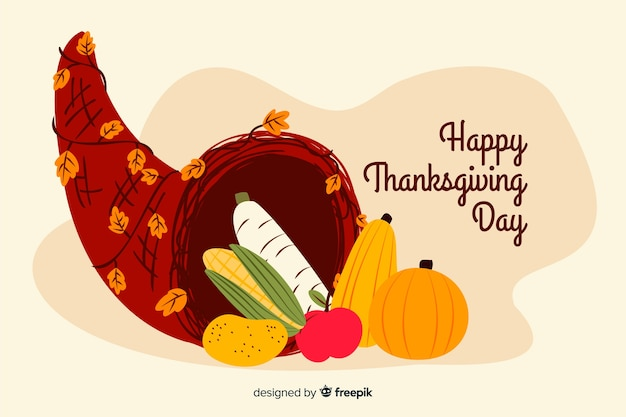 Hand drawn thanksgiving background with pumpkin Free Vector