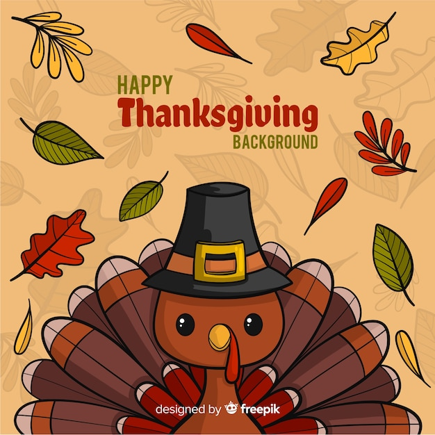 Hand drawn thanksgiving background with turkey Free Vector