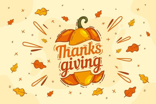 Hand drawn thanksgiving background Premium Vector