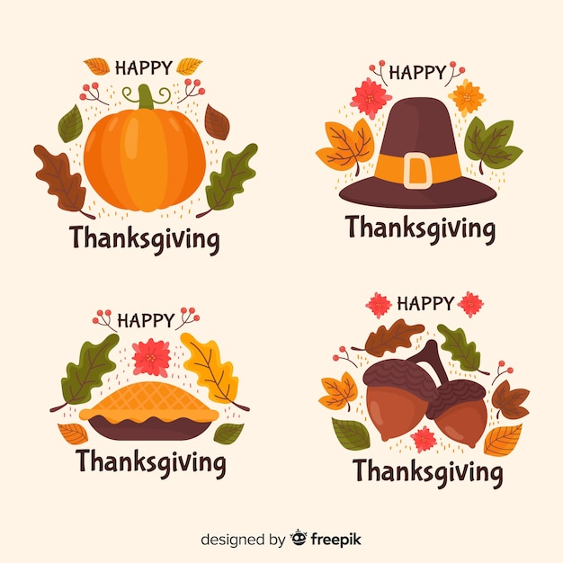 Hand drawn thanksgiving badge collection Free Vector