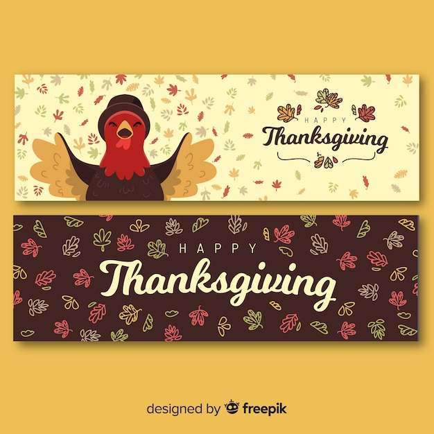 Hand drawn thanksgiving banners template Free Vector
