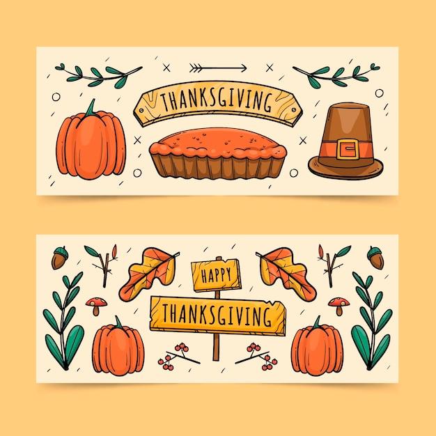 Modello di banner di ringraziamento disegnato a mano Vettore gratuito