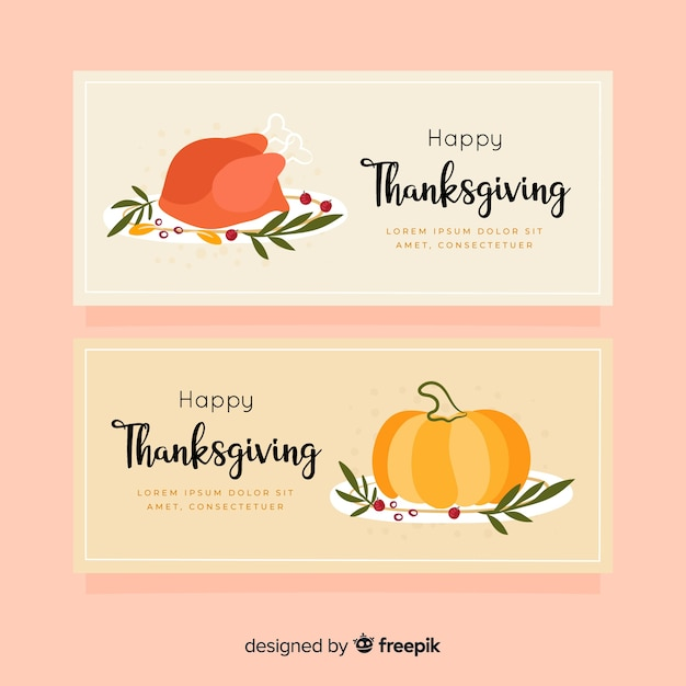 Hand-drawn thanksgiving banners Free Vector