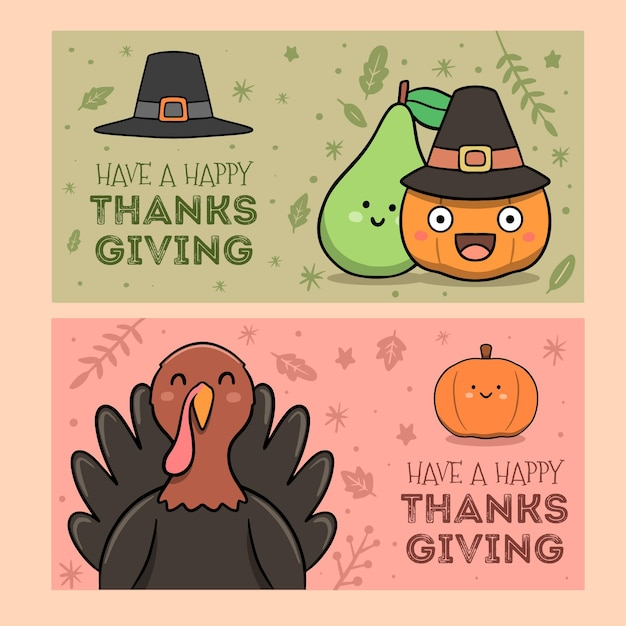 Hand drawn thanksgiving banners Free Vector