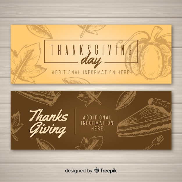 Hand drawn thanksgiving day banner set Free Vector