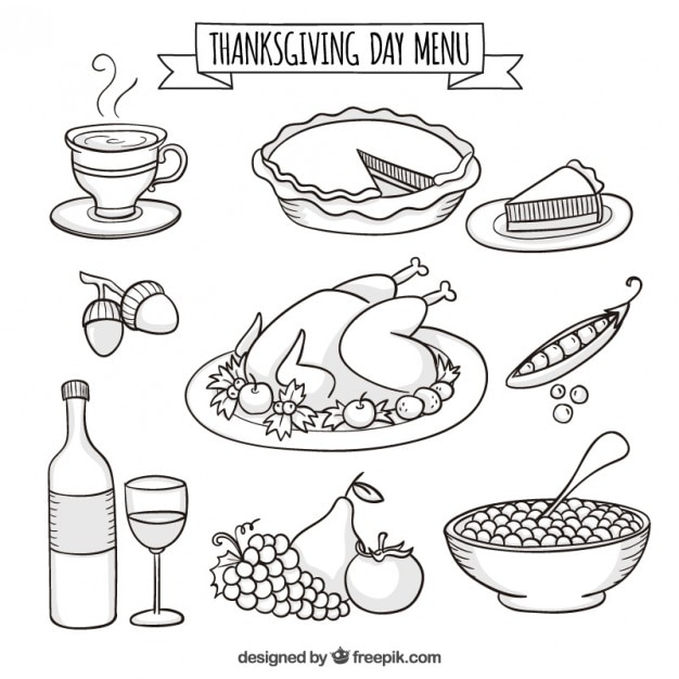 Hand Drawn Thanksgiving Day Menu Vector