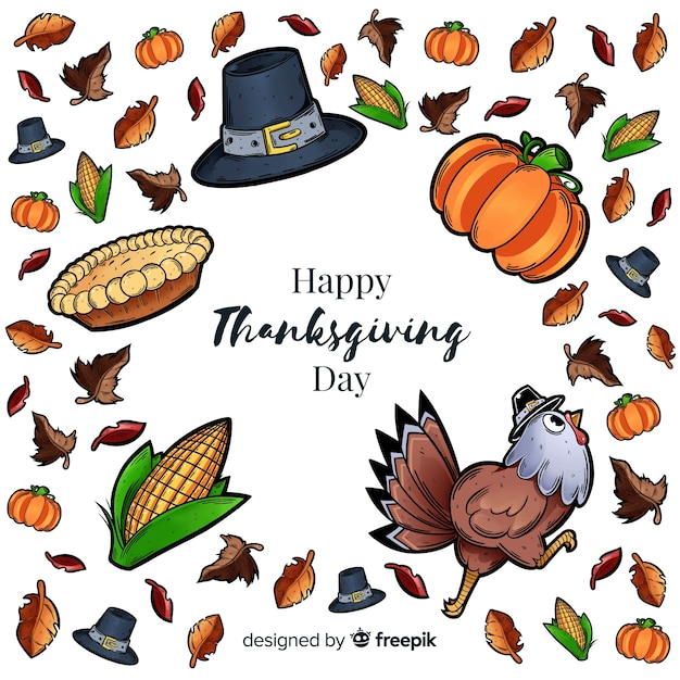Hand drawn thanksgiving elements background Free Vector