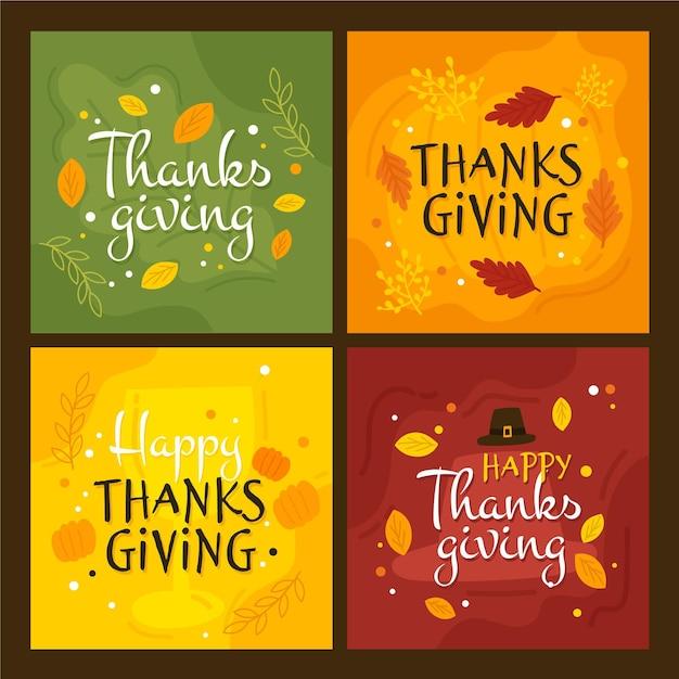 Hand drawn thanksgiving instagram post Free Vector