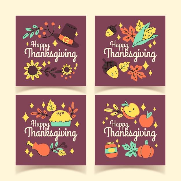 Post di instagram di ringraziamento disegnati a mano Vettore gratuito