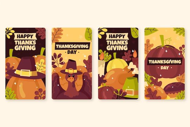 Storie di instagram di ringraziamento disegnate a mano Vettore gratuito