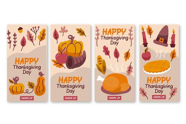 Hand drawn thanksgiving instagram stories Free Vector