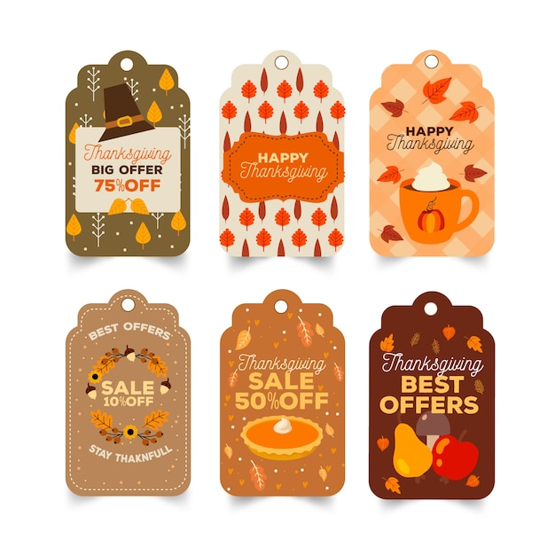 Hand drawn thanksgiving label badge set Free Vector