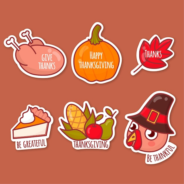 Hand drawn thanksgiving label collection Free Vector
