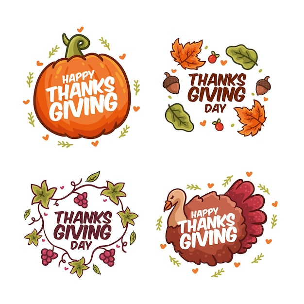 Hand drawn thanksgiving label pack Free Vector