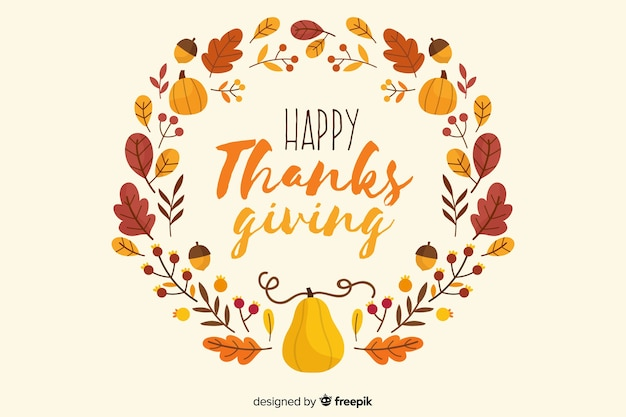 Hand drawn thanksgiving leaves background Free Vector