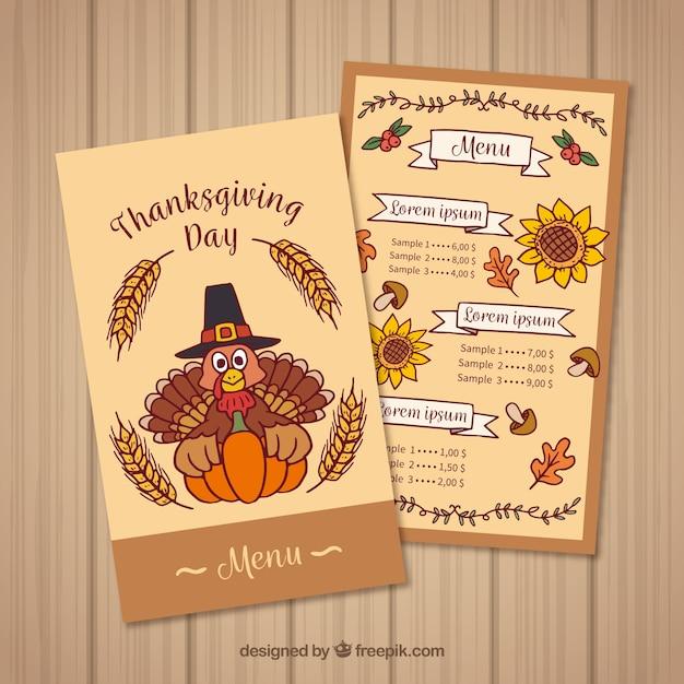 hand drawn thanksgiving menu vector free download