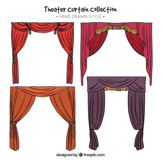 Hand Drawn Theater Curtains With Different Colors Free Vector