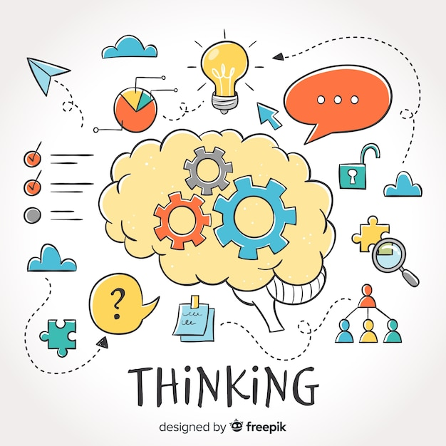 Hand drawn thinking concept background Free Vector