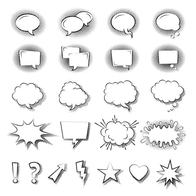 Рука нарисованные мысли и речи пузыри и воздушные шары Premium векторы