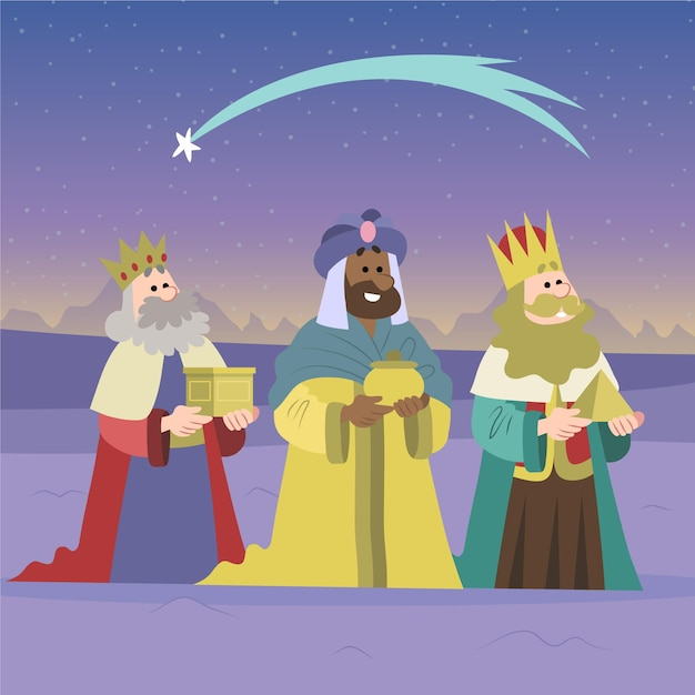 Рука нарисованные трех мудрецов Бесплатные векторы