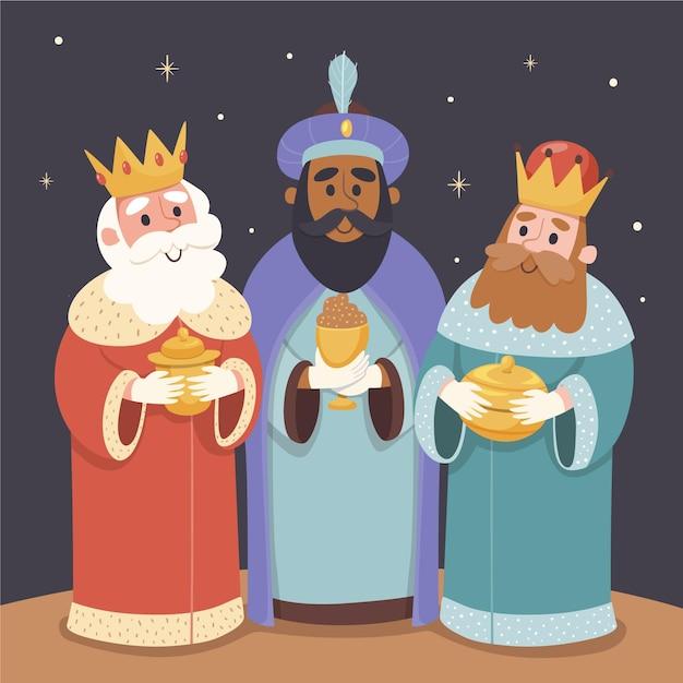 Tre uomini saggi disegnati a mano Vettore gratuito