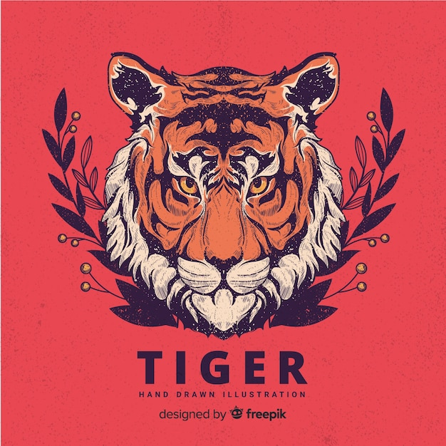 Hand drawn tiger background Free Vector