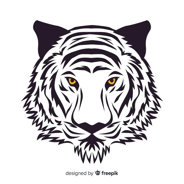 Hand drawn tiger face background Free Vector