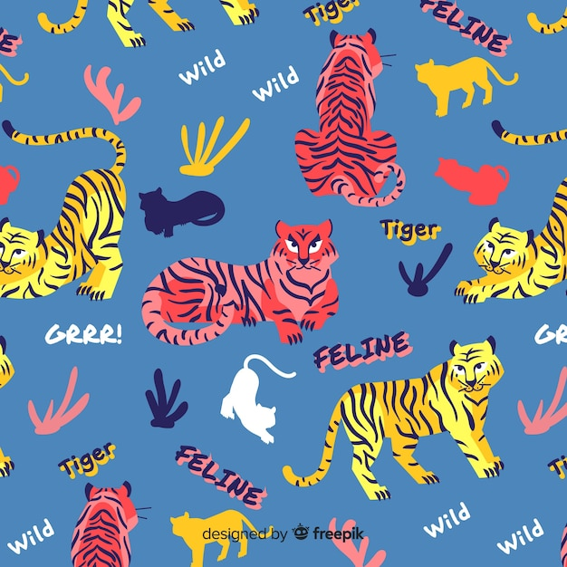 Hand drawn tiger pattern background Free Vector
