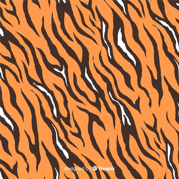 Hand drawn tiger print background Free Vector