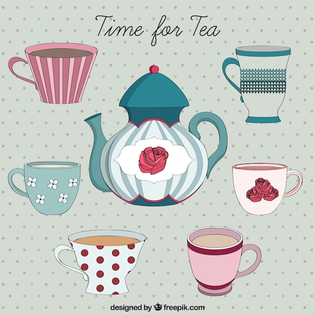 Hand drawn time fo tea Free Vector
