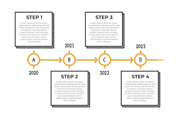 Hand drawn timeline infographic Free Vector