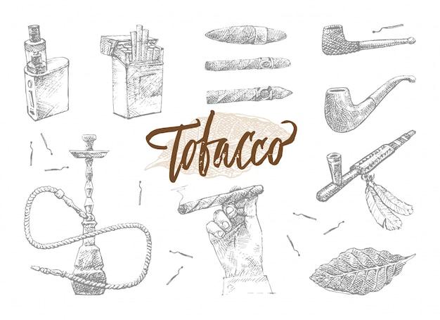 手描きタバコ要素セット 無料ベクター