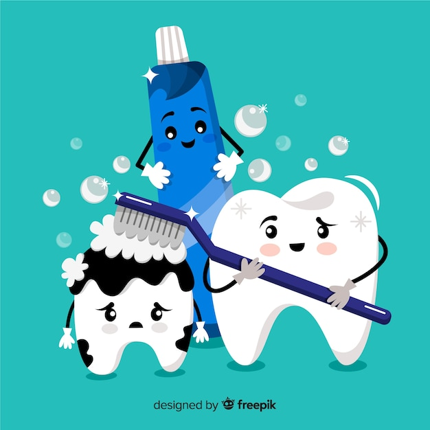 Hand drawn tooth being brushed background Free Vector