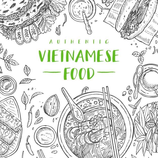 手描きトップビュー伝統的なベトナム料理、イラスト Premiumベクター