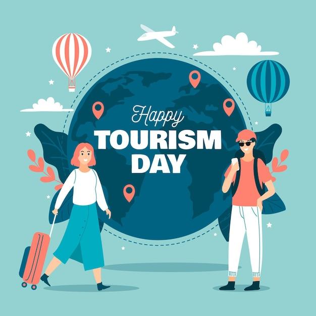 Нарисованная рукой концепция дня туризма Бесплатные векторы