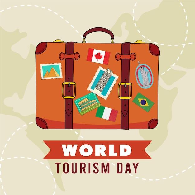 Concetto di giorno del turismo disegnato a mano Vettore gratuito
