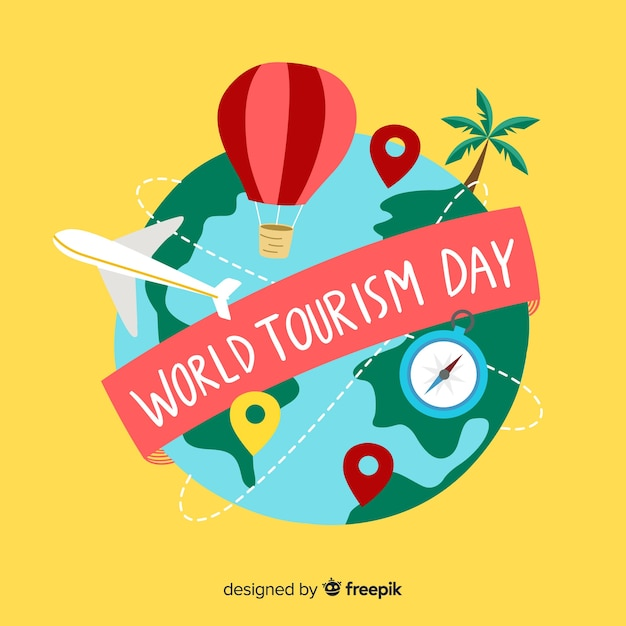 Hand drawn tourism day cute world Free Vector