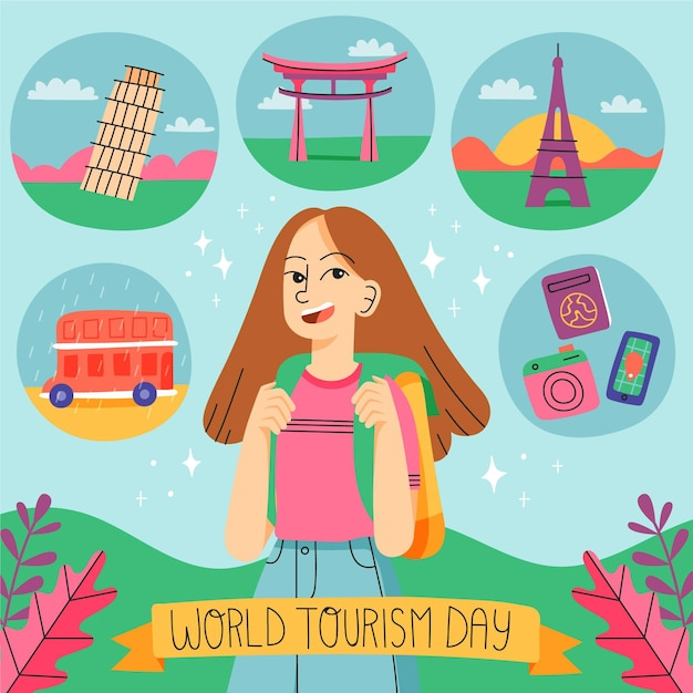 Hand drawn tourism day illustration Free Vector