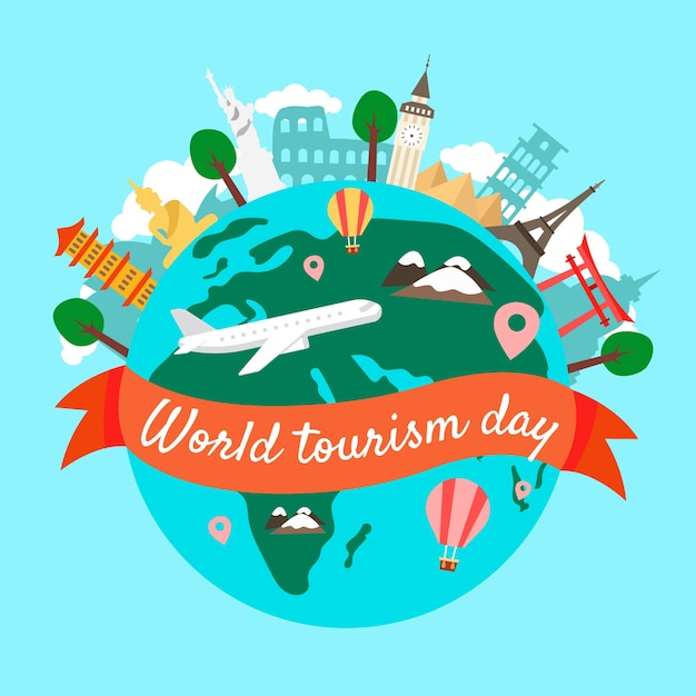 Hand drawn tourism day with landmarks Free Vector