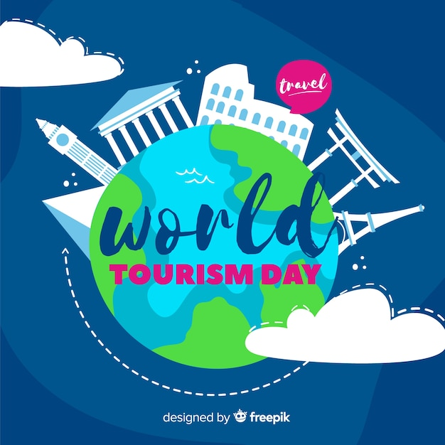 Hand drawn tourism day with travel chat bubble Free Vector