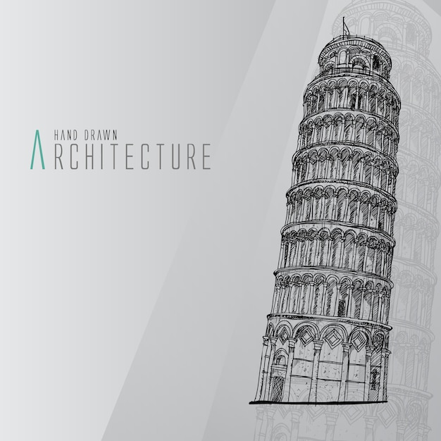 Hand drawn tower of pisa Free Vector