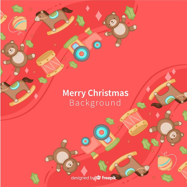 Hand drawn toys christmas background Free Vector