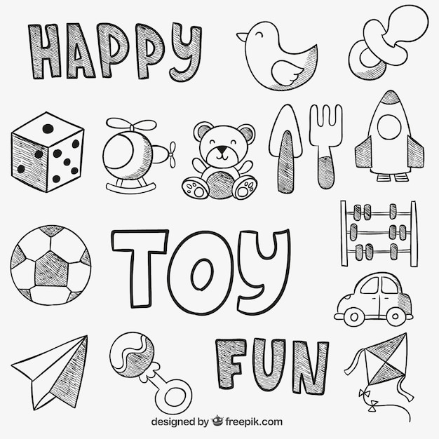 Hand Drawn Toys Vector Free Download